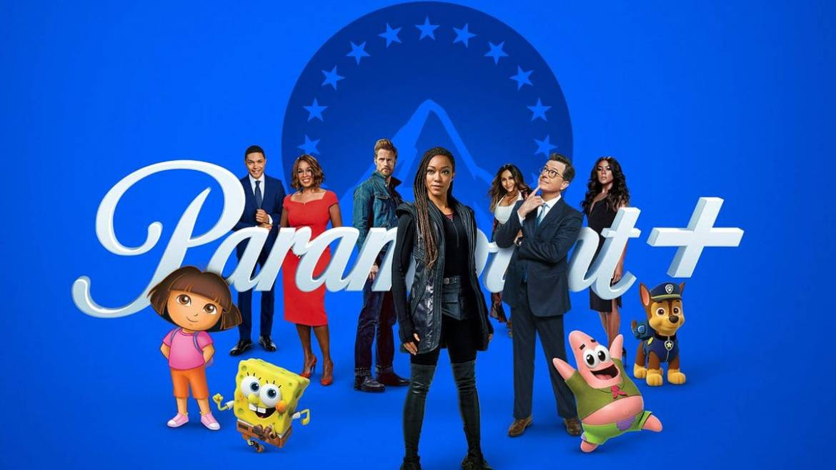 Various characters from ViacomCBS shows standing in front of the Paramount+ logo