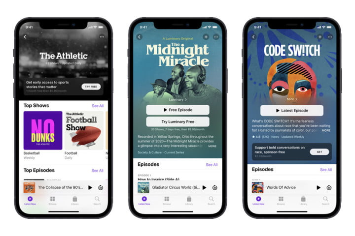 Three phone screens showing different Apple Podcasts for the Apple Podcasts Subscription service.