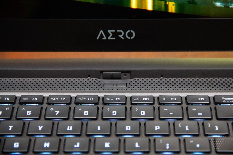 The Aero logo and webcam on the Gigabyte Aero 15.