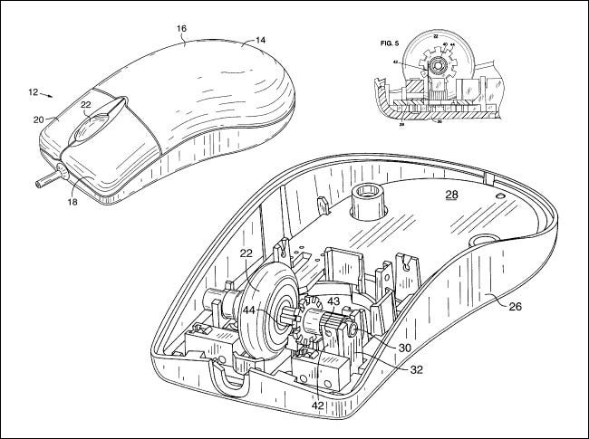 Diagrams from Microsoft's Intellimouse patent.
