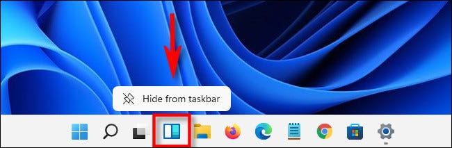 """To hide the widgets button in Windows 11, right-click the button and select """"Hide From Taskbar."""""""