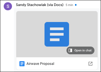 Open the document in Google Chat