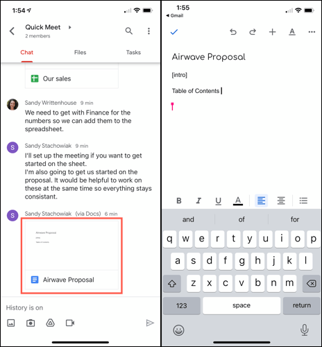 Open the Chat document on your mobile device