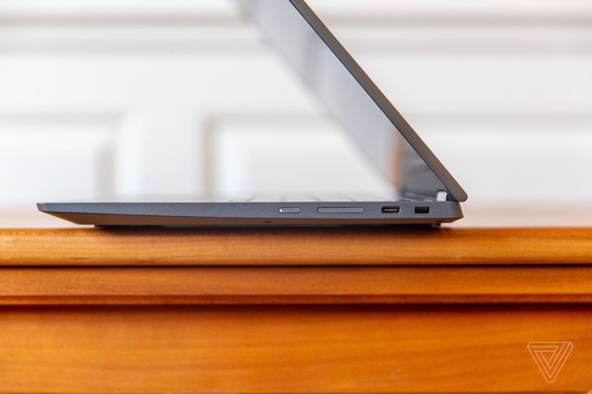 The Lenovo Flex 5 Chromebook half open, seen from the right side.