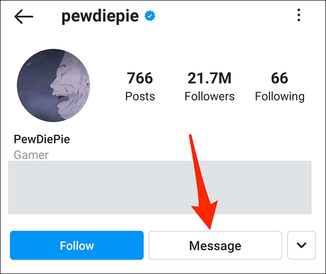 """Tap """"Message"""" on a user's profile in the Instagram app."""
