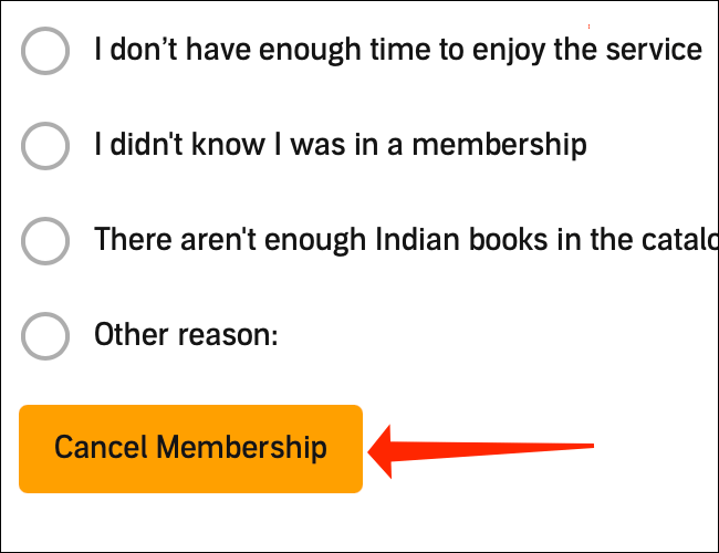 """Amazon will ask you to provide a reason for cancellation. Select any option and then you can click the orange """"Cancel Membership"""" button once again."""