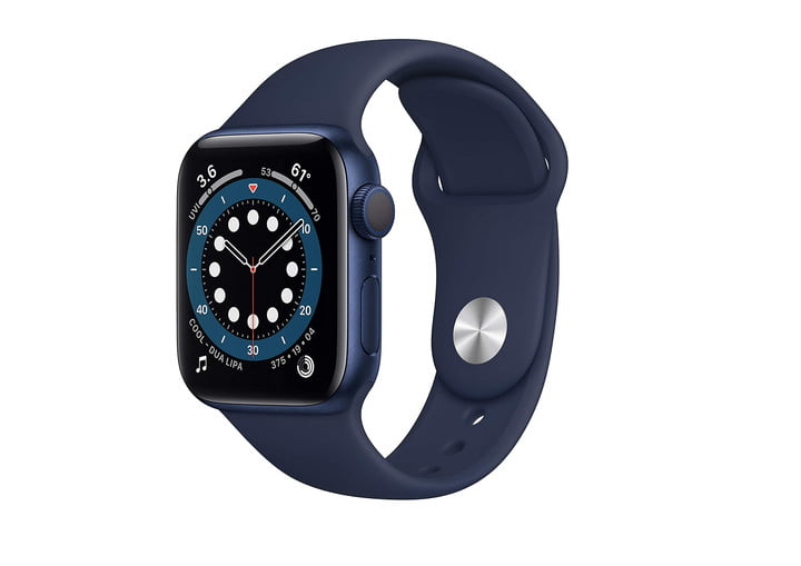 Apple Watch Series 6 with blue aluminum and deep navy sport band