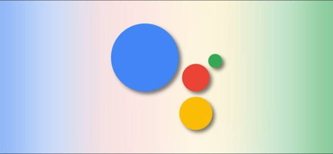 Google Assistant Logo on a background made of Google colors