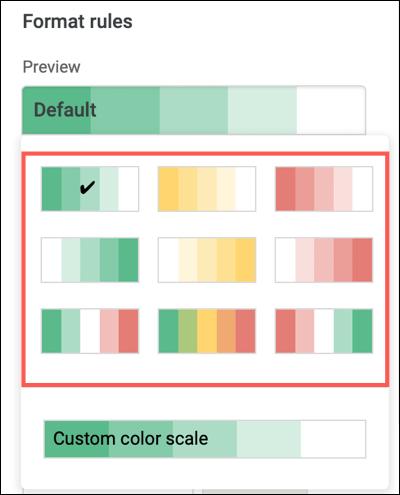 Choose a preset color scale