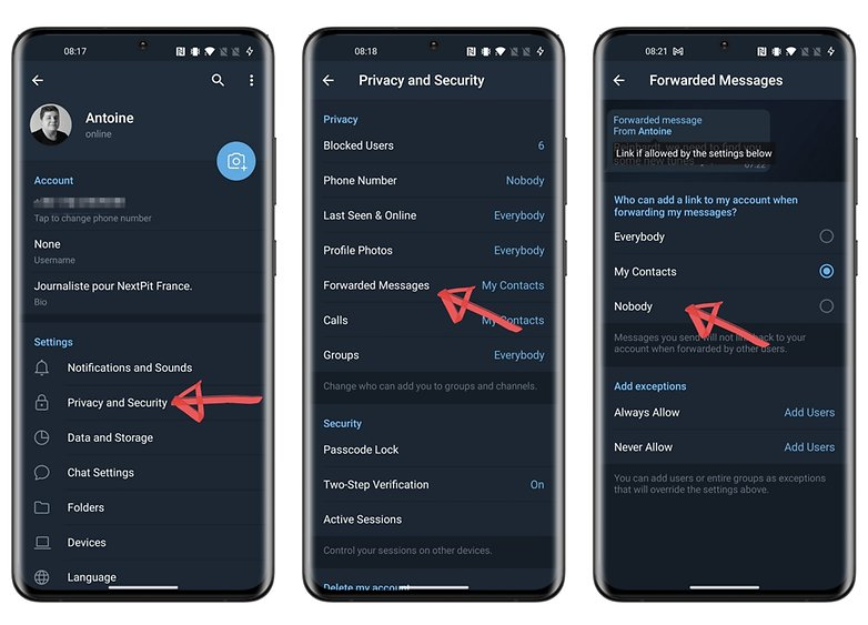 telegram privacy how to forward messages