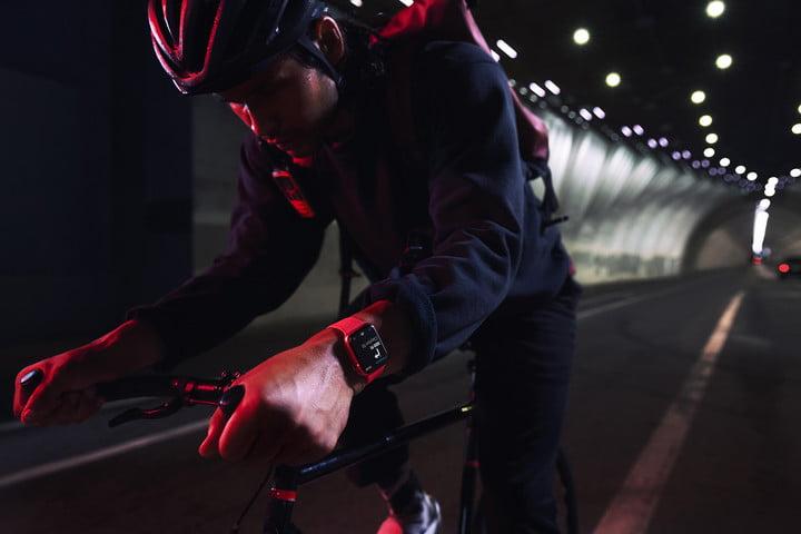 Apple Watch Series 7 cyclist.