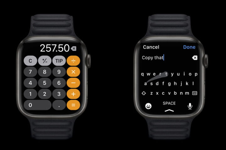 Apple Watch redesigned display and larger keyboard.