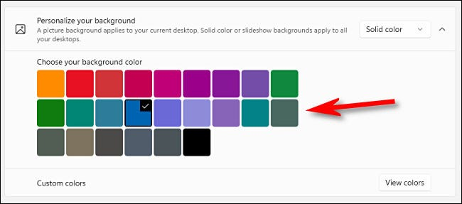 """With the """"Solid Color"""" option, click a color in the grid."""