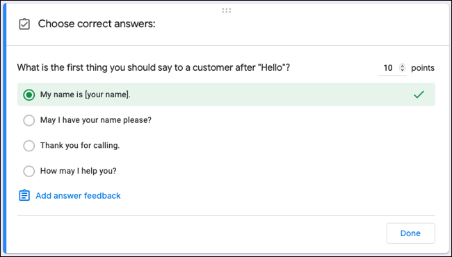 Google Forms quiz answer key