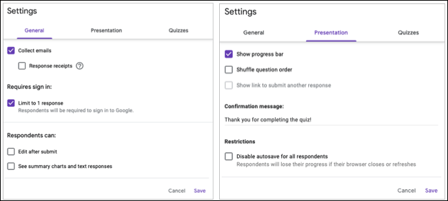 Settings for general options and presentation