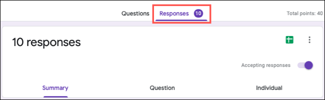 Number of quiz responses on tab