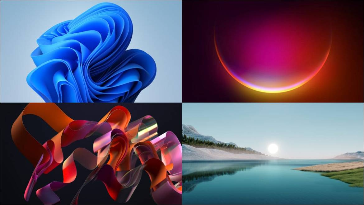 Four example Windows 11 wallpapers