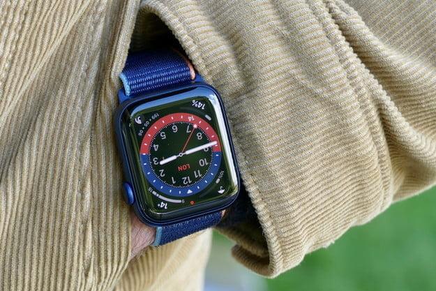 Apple Watch 6 in pocket.