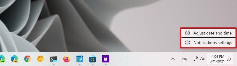Notification Center context menu
