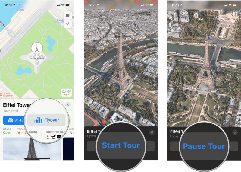 How To Use Flyover: Tap the Flyover button, pan and zoom around the map or tap Start Tour to begin an aerial 3D tour, tap Pause Tour to go back to manual exploration