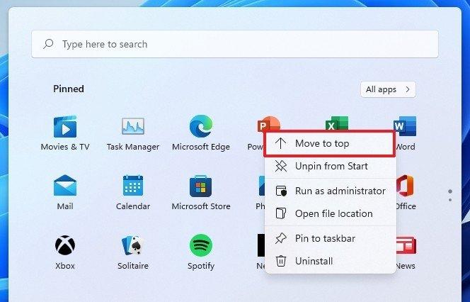 Start menu context menu