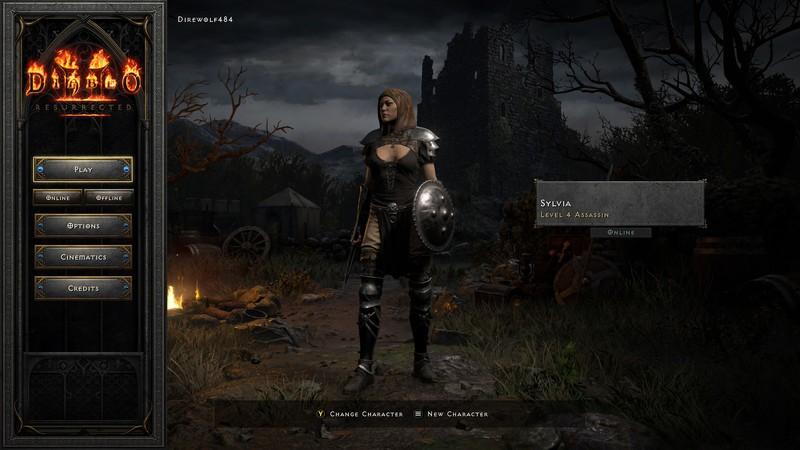 Diablo 2 Resurrected Assassin Main Menu