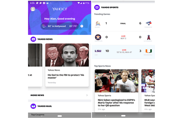 Yahoo Personalized Android App