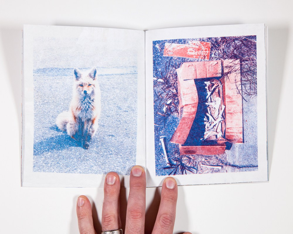 """Will Arnold, 7"""" x 5.5"""", 32 pages, 4-color risograph (blue, red, teal, and orange) on bright white 60lb, text and gray 80lb, edition of 38"""