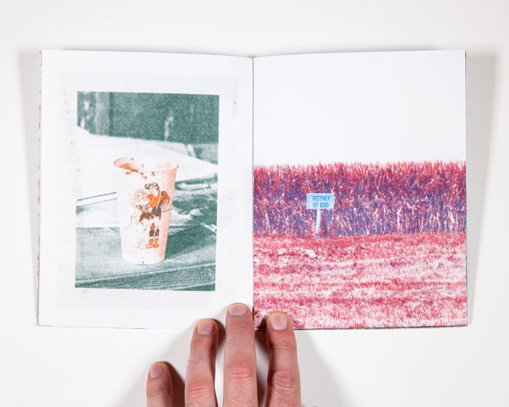 "Will Arnold, 7"" x 5.5"", 32 pages, 4-color risograph (blue, red, teal, and orange) on bright white 60lb, text and gray 80lb, edition of 38"
