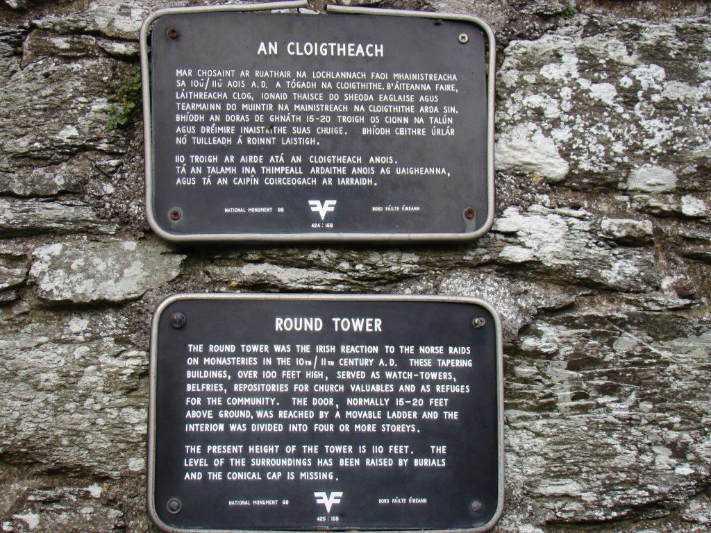 Round Tower plaque at Monasterboice