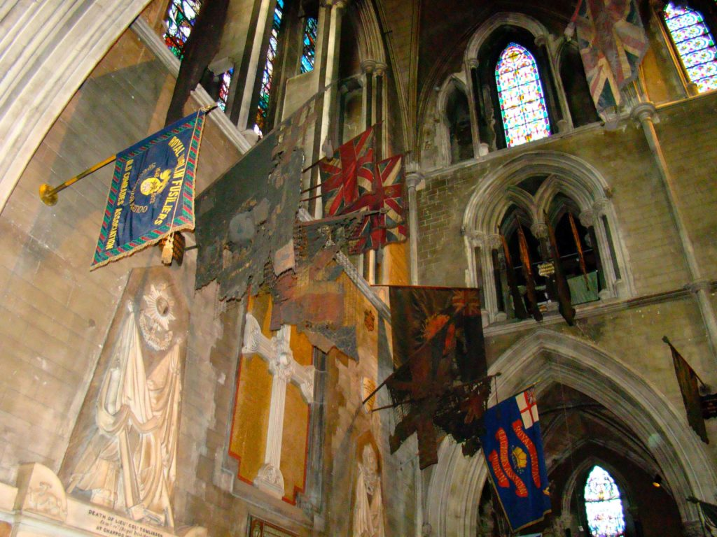 Flag wall at Saint Patrick's Cathedral Dublin