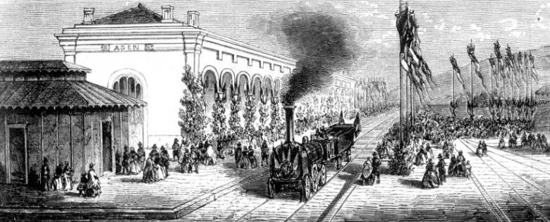 Inauguration de la gare d' Agen en 1857.d'après un croquis de M.Delamarre