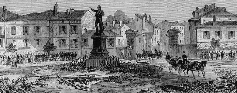 Porte et place Saint Antoine au moment de la visite du marechal président dessin de M. Defoy