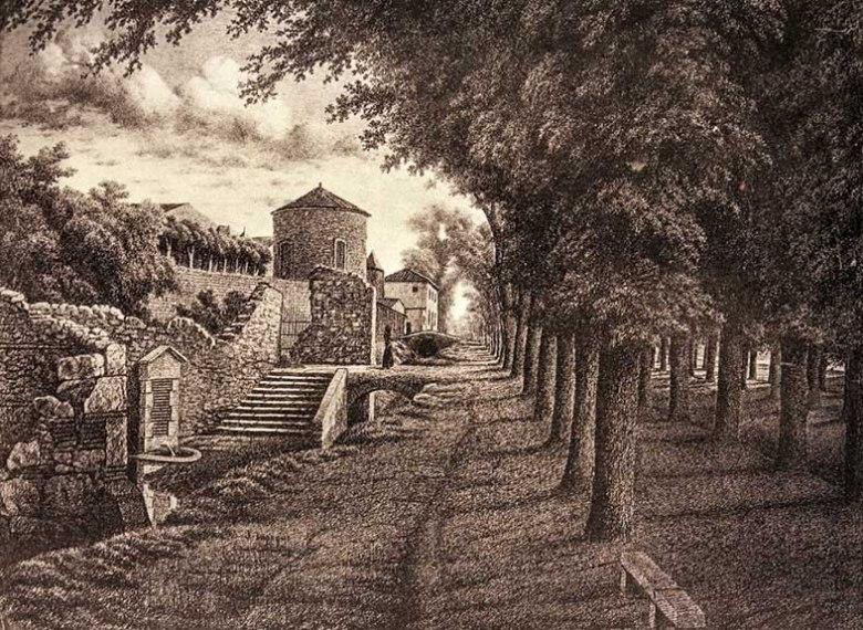 L'esplanade du Gravier vers 1840, la fontaine des Soupirs et la Tour de la Poudre