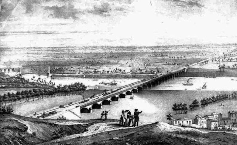 Le pont canal sur la Garonne à AgenLithographie d'après Jules Philippe