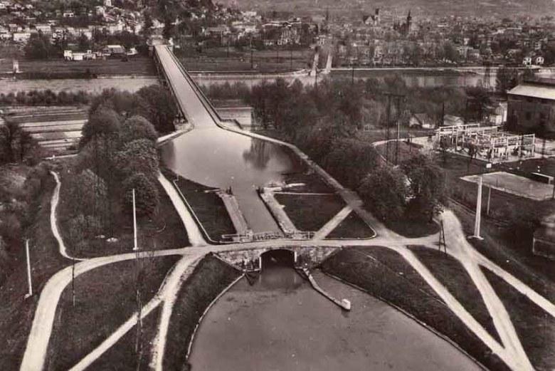 Vue aérienne de l'Ecluse du Pont Canal au Passage d'Agen