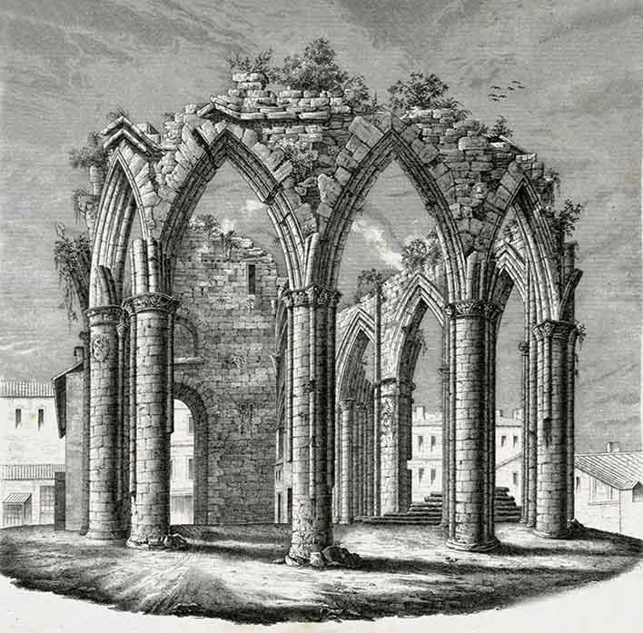Ruines de la cathédrale Saint.-Etienne d'Agen gravure H Brecy