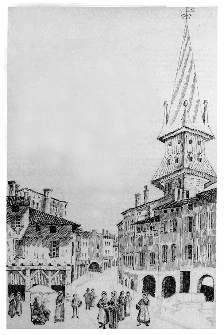 Cornières et clocher Saint Etienne Agen gravure de 1848