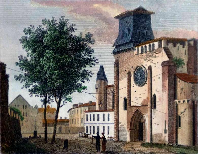 Cathédrale Saint-Caprais vers 1830 Façade sud