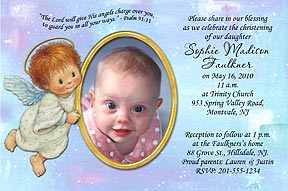 Gold Balloons Photo Christening Invitation Angel