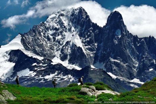 Randonnée à la montagne dans la réserve des Aiguilles rouges, sur la montagne de la flégère. En arrière plan : les Grands Montets, l'Aiguille Verte et les Drus