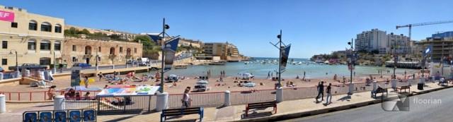 Plaże na Malcie - St. George's Bay położona w rozrywkowej dzielnicy w St Julians - Paceville