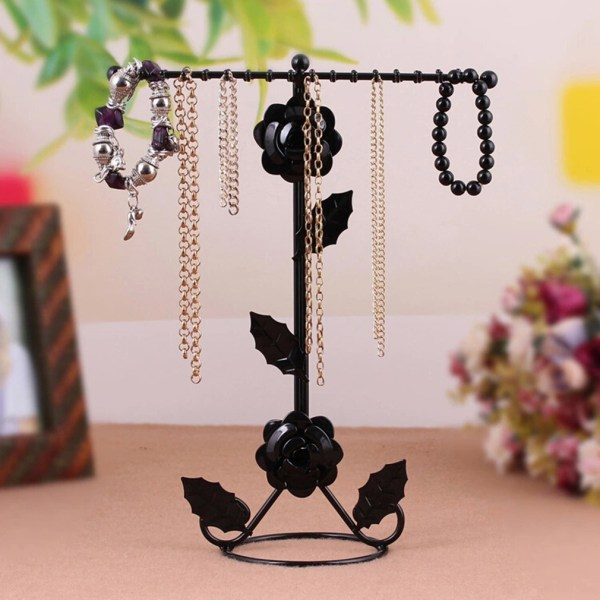 2-tier Metal Earring Necklace Jewelry Holder Stand