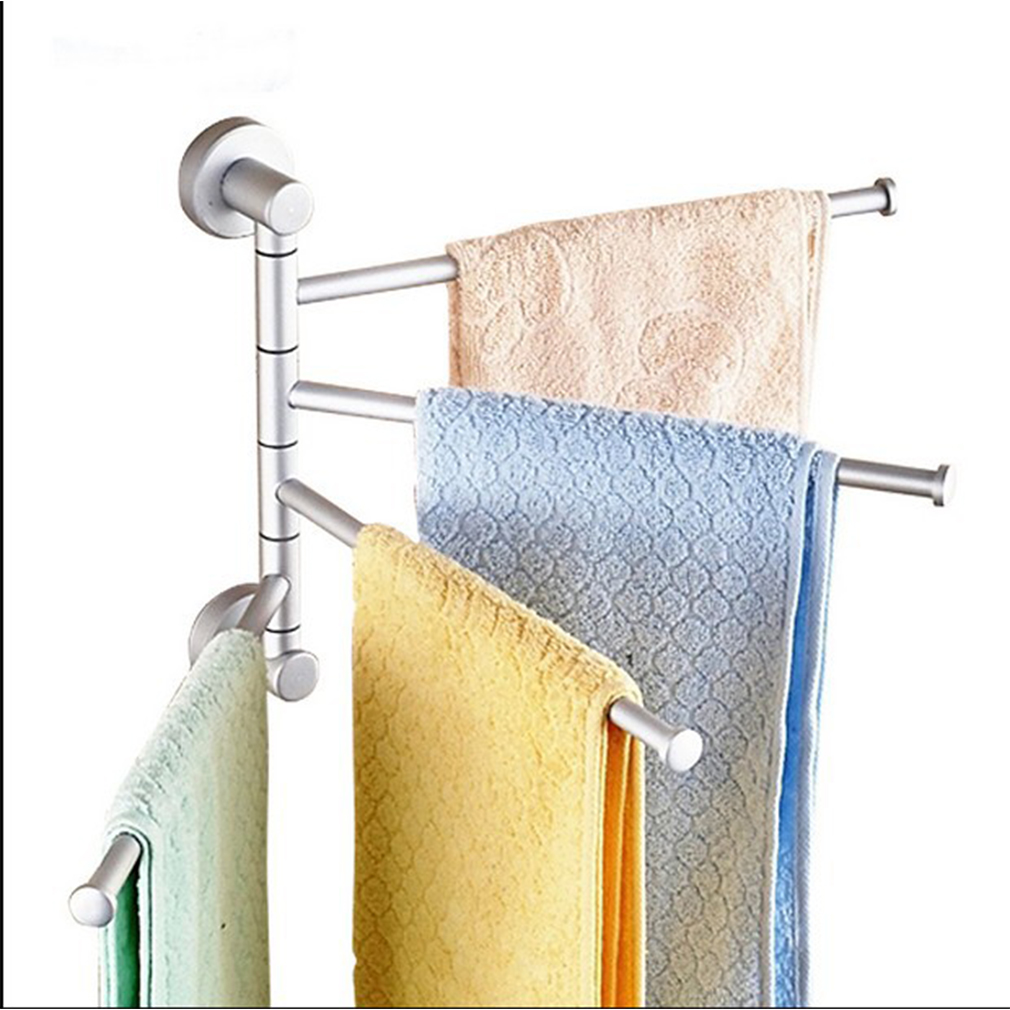 Wall Mounted Aluminum Bath Towel Holder Swivel Bathroom