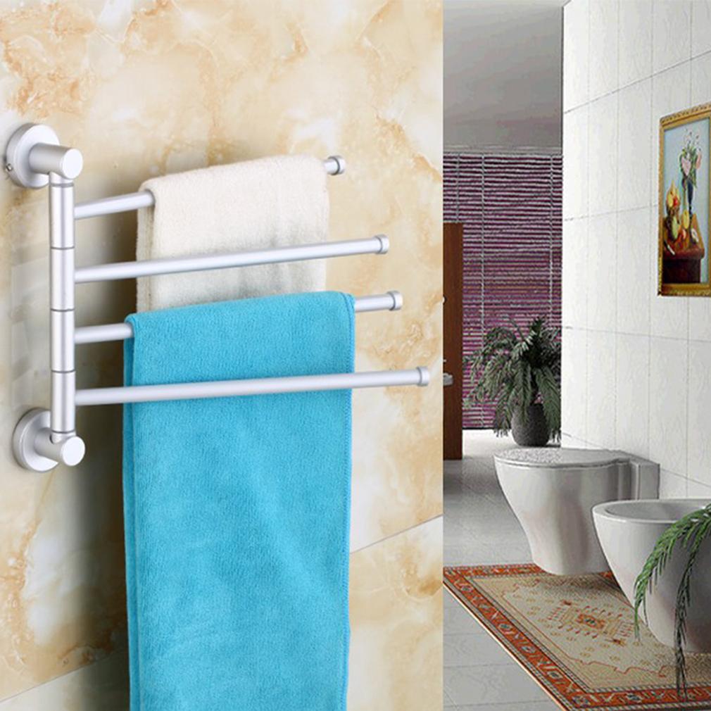 Wall Mounted Aluminum Bath Towel Holder Swivel Bathroom Rack Rail Hanger OE  eBay