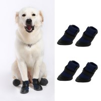 4pcs Black Waterproof Dog Shoes Cute Boots Shoes For Pets