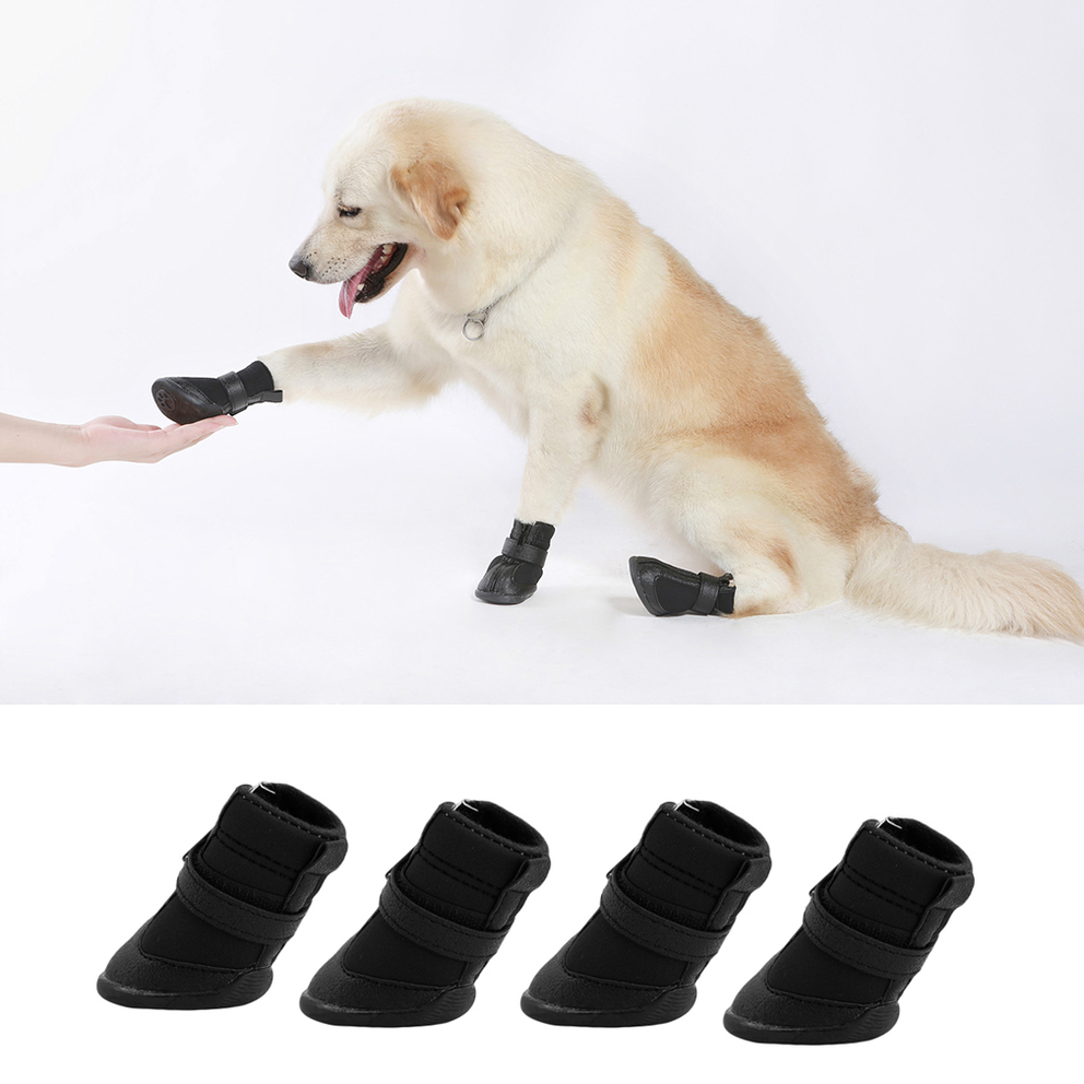 4pcs Black Waterproof Dog Shoes Cute Boots Shoes For Pets