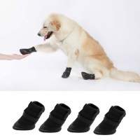 4pcs Black Waterproof Dog Shoes Cute Boots Shoes For Pets ...