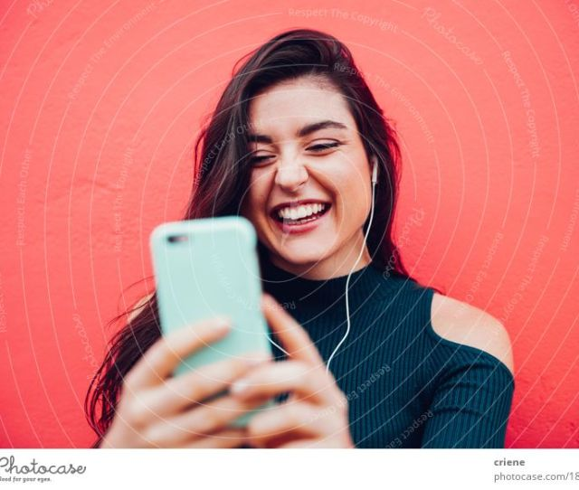Young Happy Women Video Chatting With Smart Phone Human Being Youth Young Adults Colour