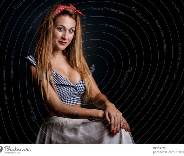 Sexy Woman Smiling On Black Background A Royalty Free Stock Photo From Photocase
